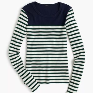 J. Crew Placed Striped Ribbed Tee Shirt Henley
